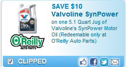 photo regarding Printable O'reilly Auto Parts Coupon identified as OReilly Car Elements Coupon Notify: $10 Off Valvoline Engine